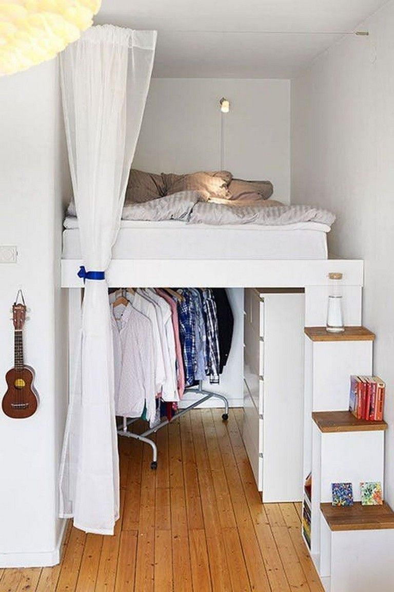 68 Inspiring Bed Storage Ideas For Small Space Bed Storageideas Smallspaces Small Space Bedroom Loft Apartment Decorating Tiny Apartment Storage
