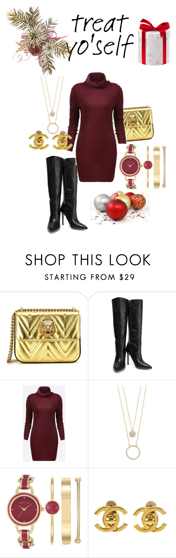 """""""Merry Christmas to me"""" by ashxoleyxo ❤ liked on Polyvore featuring Gucci, Halston Heritage, Kate Spade, Anne Klein, Chanel, trend and holidaystyle"""
