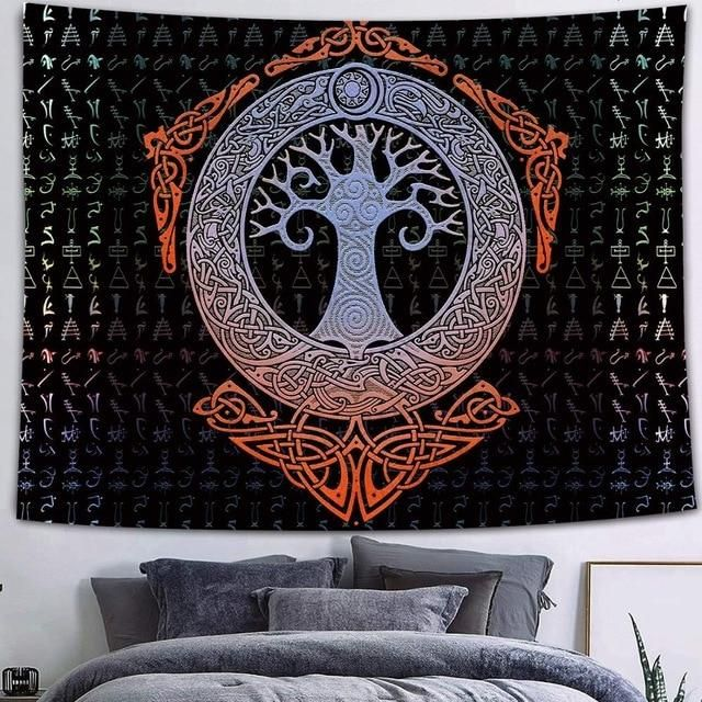 Photo of Simsant Mystical Raven Tapestry Mysterious Viking Meditation Psychedelic Runes Art Wall Hanging Tapestries for Living Room Decor [40+ OPTIONS] – 150x150cm / 2TGTZYFS415