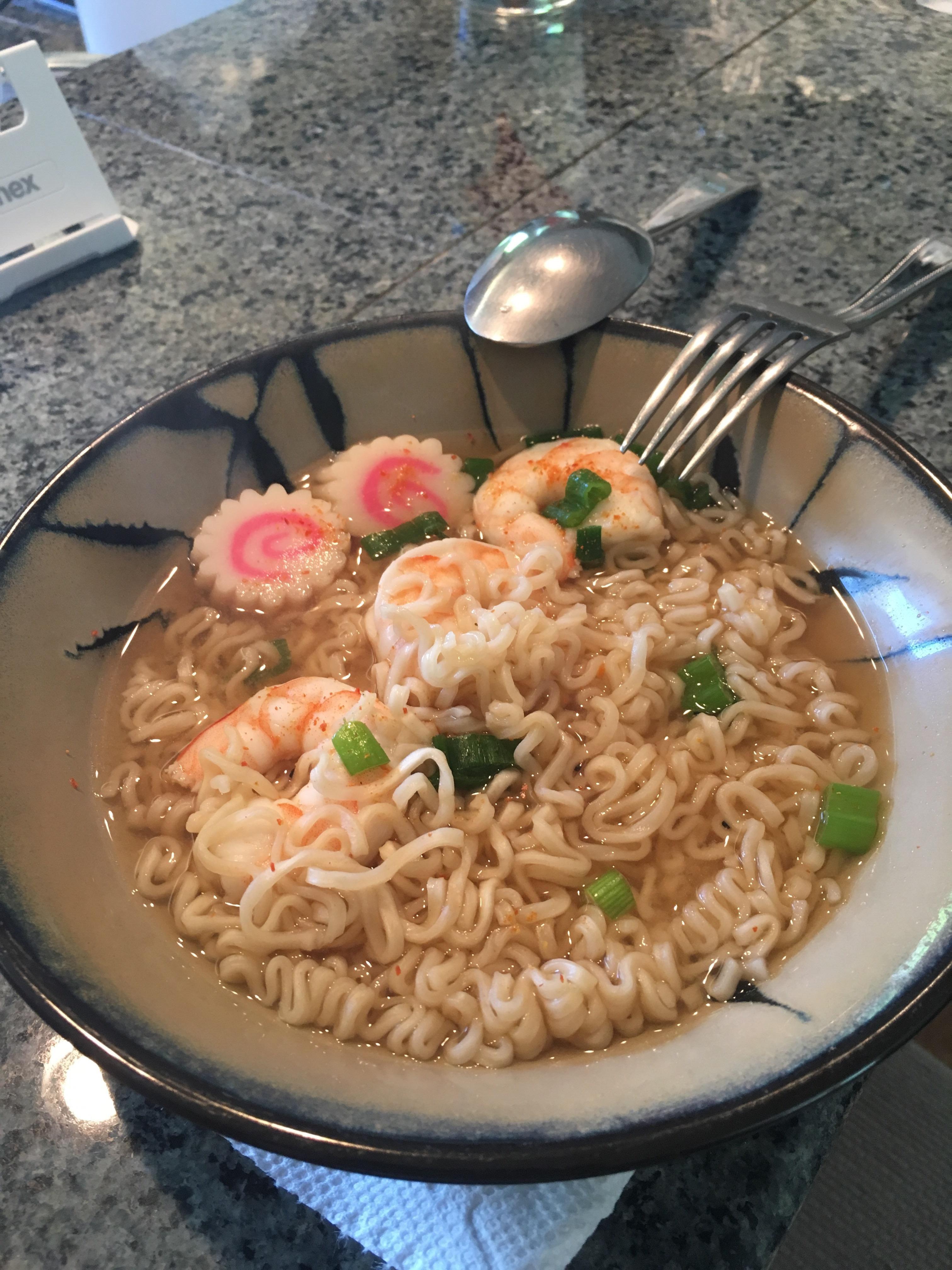 Homemade Shrimp Ramen Noodles With Naruto Fish Cakes In Dashi