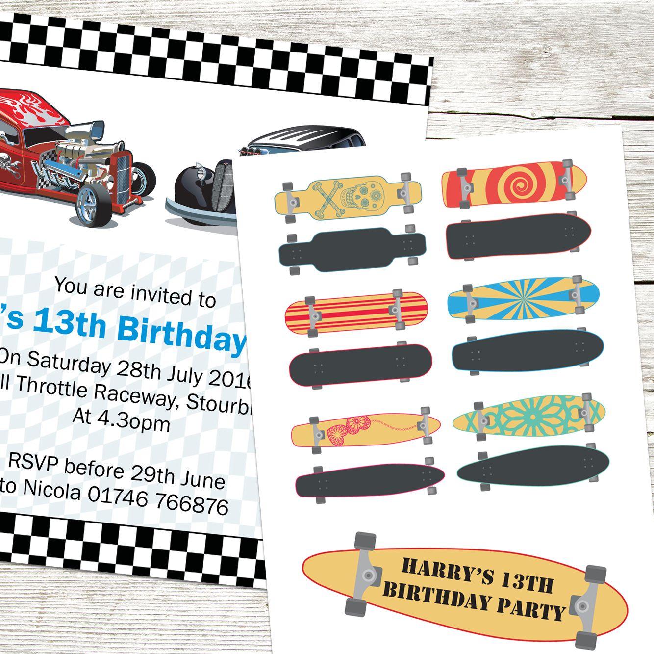 Boys Teen Birthday Party Invitations. \'Boys Skateboard 13th Birthday ...
