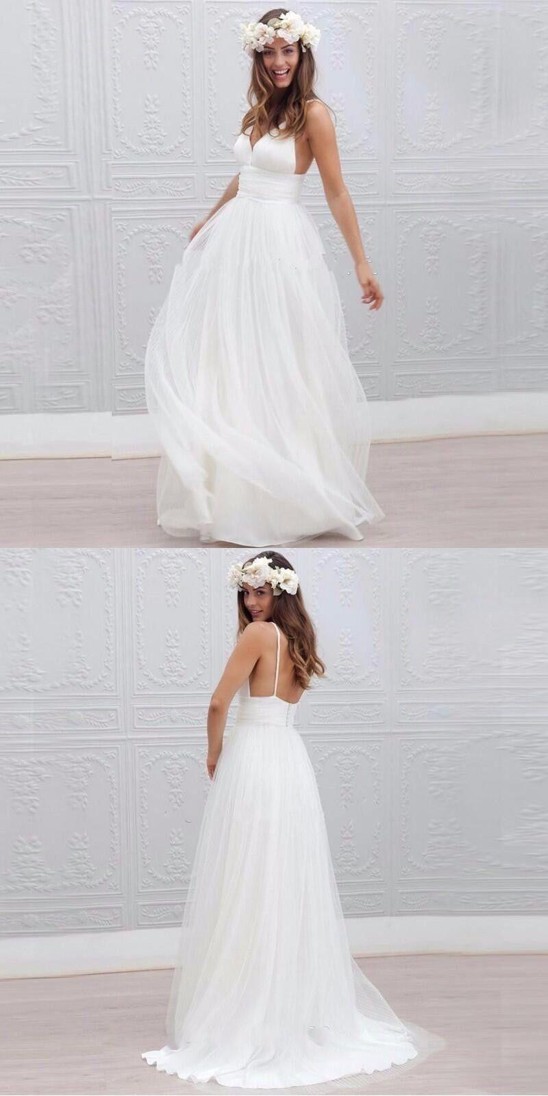 Size 8 wedding dress  Backless Summer Beach Wedding Dress with Spaghetti Straps Custom