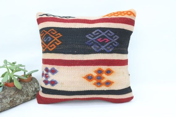Turkish Kilim Pillow, 14x14 Ethnic Pillow, Patterned Pillow,Small Throw Pillows,Cushion Cover, Orang