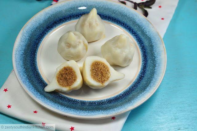 Zesty South Indian Kitchen: Steamed rice dumpling with sweet filling   (Gluten & vegan free)