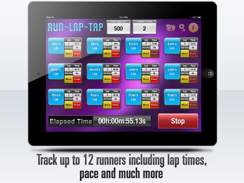 RunLapTap track laps, pace for up to 12 runners. Game