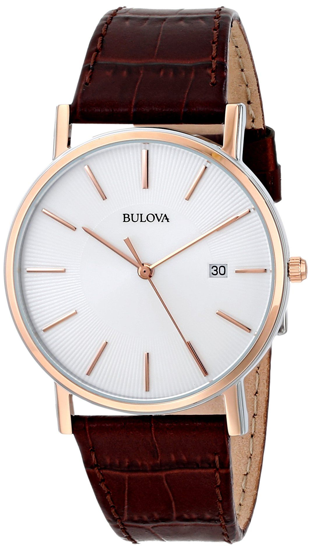 e52e28d5bb9 Amazon.com  Bulova Men s 98H51 Leather Dress Watch  Bulova  Clothing ...