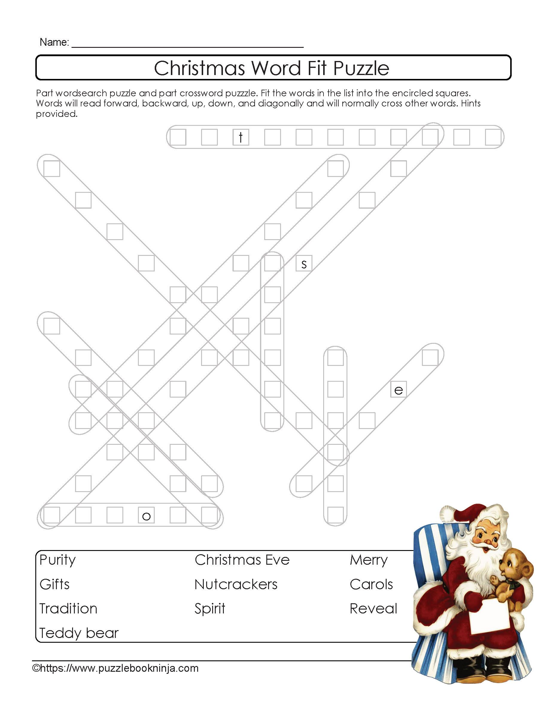 Freebie Printable Christmas Wordsearch Crossword Puzzle