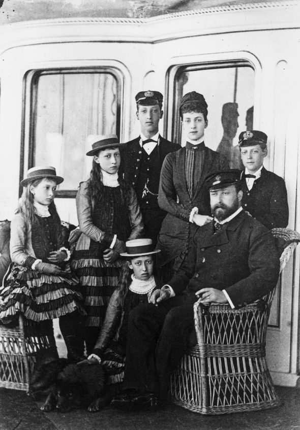The Prince of Wales and family aboard the royal yacht, Osborne. The future King Edward VII is seated. Behind him stands his wife, the future Queen Alexandra and, over his shoulder, the future King George V. One of the girls will become queen of Norway but I can't remember which one.