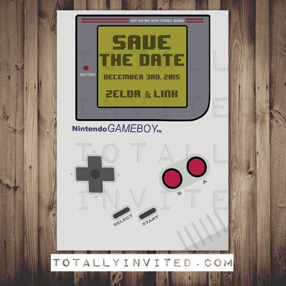 Video Game Wedding Ideas: Gameboy Nintendo Video Game Invitation