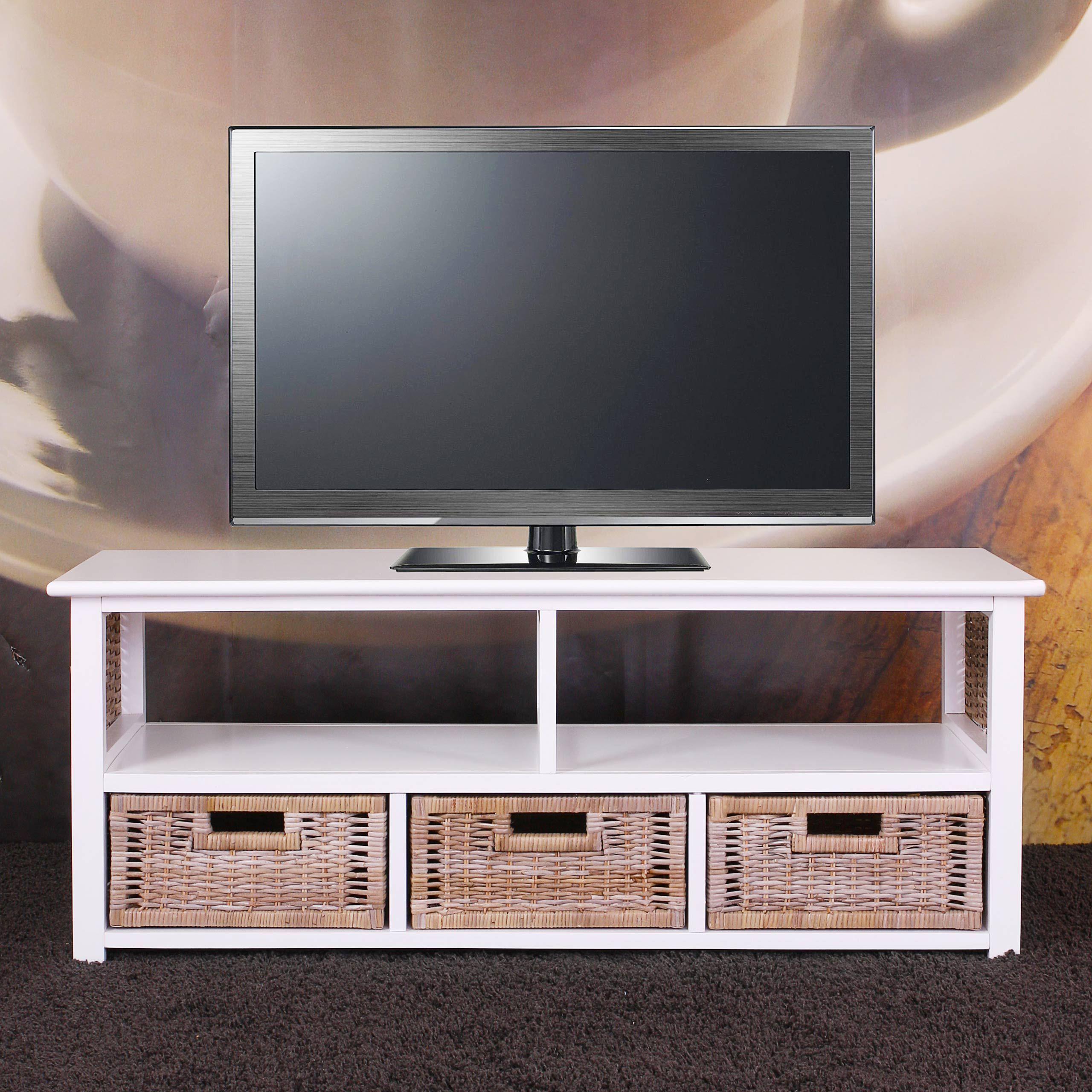 Meuble Table Basse T L Bois Massif Osier 3 Tiroirs Meubles D  # Table En Bois Pour Tv Ecran Plat