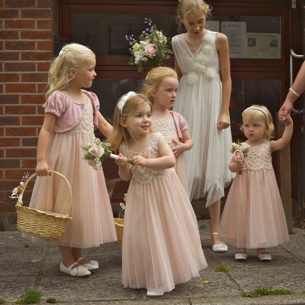 Flower Girl Dresses For Garden Weddings: Pretty Pastel Pink Flower Girls At A Traditional English