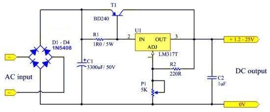 125V adjustable power supply Electronic schematics, Ac