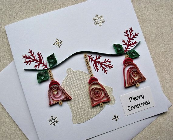 Handmade Paper Quilled Christmas Card Merry Christmas Bells Christmas Cards Handmade Quilling Christmas Christmas Cards
