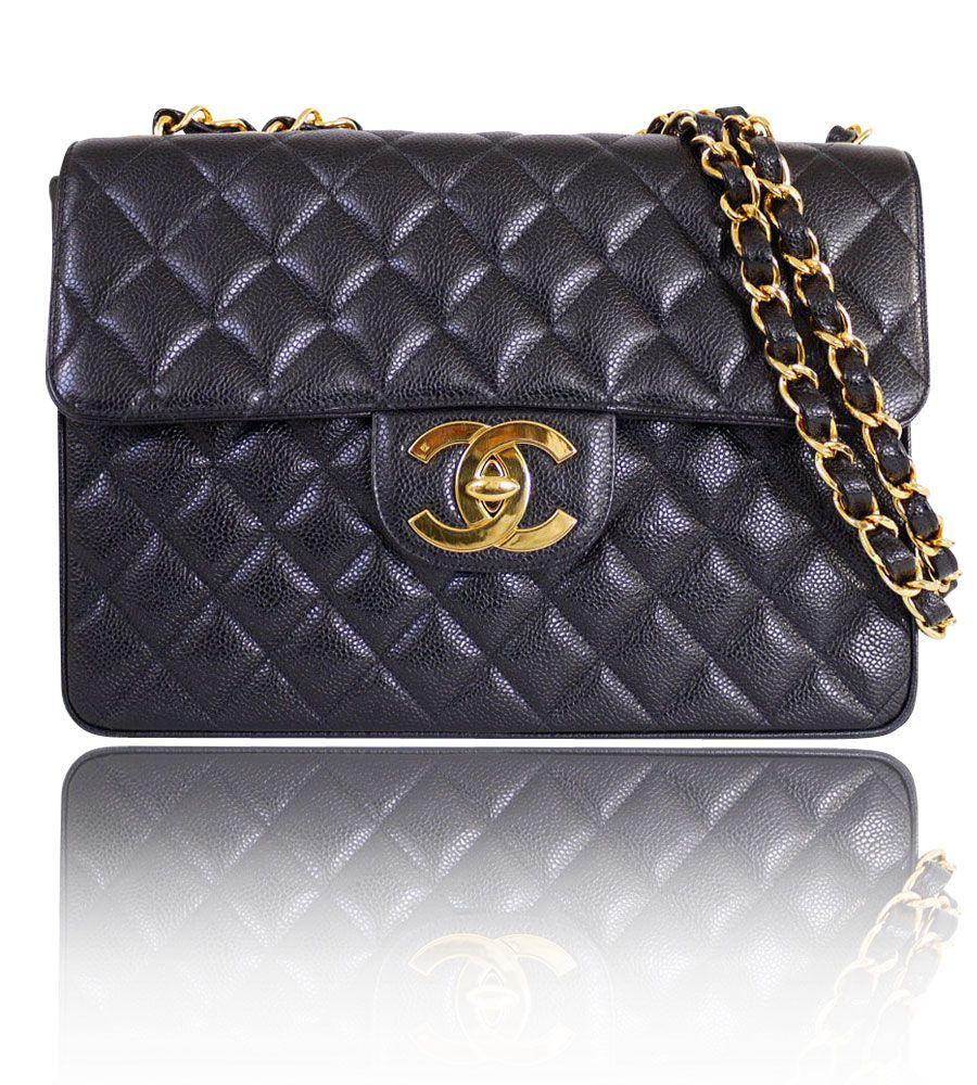 52a0dce19f3b Authentic Chanel Black Caviar Skin Jumbo Classic Flap Bag 12