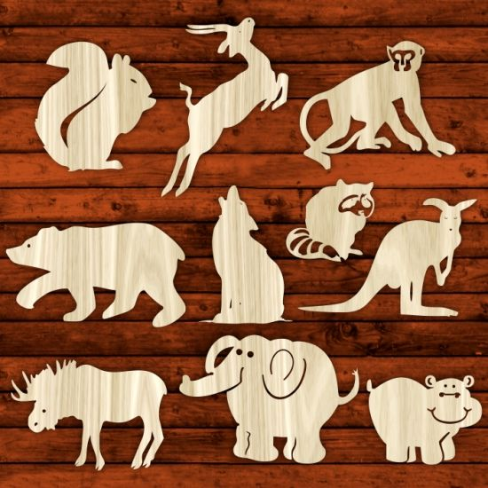 Product Wild Animals Template For Laser Cutting Vector Online Free Designs Set Msl