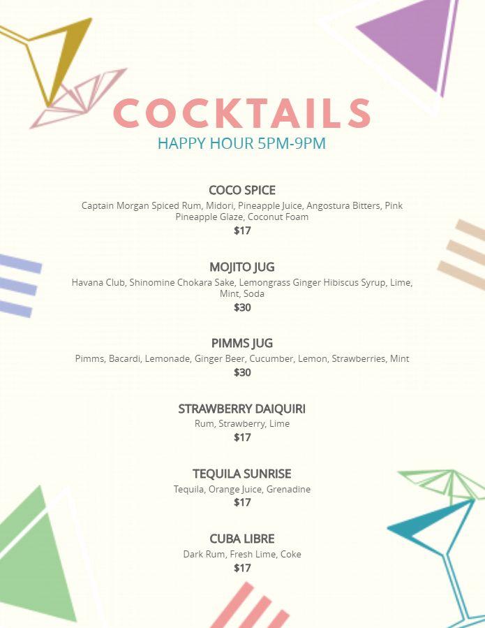 Modern bar cocktail menu template printable cocktail menu modern bar cocktail menu template printable maxwellsz