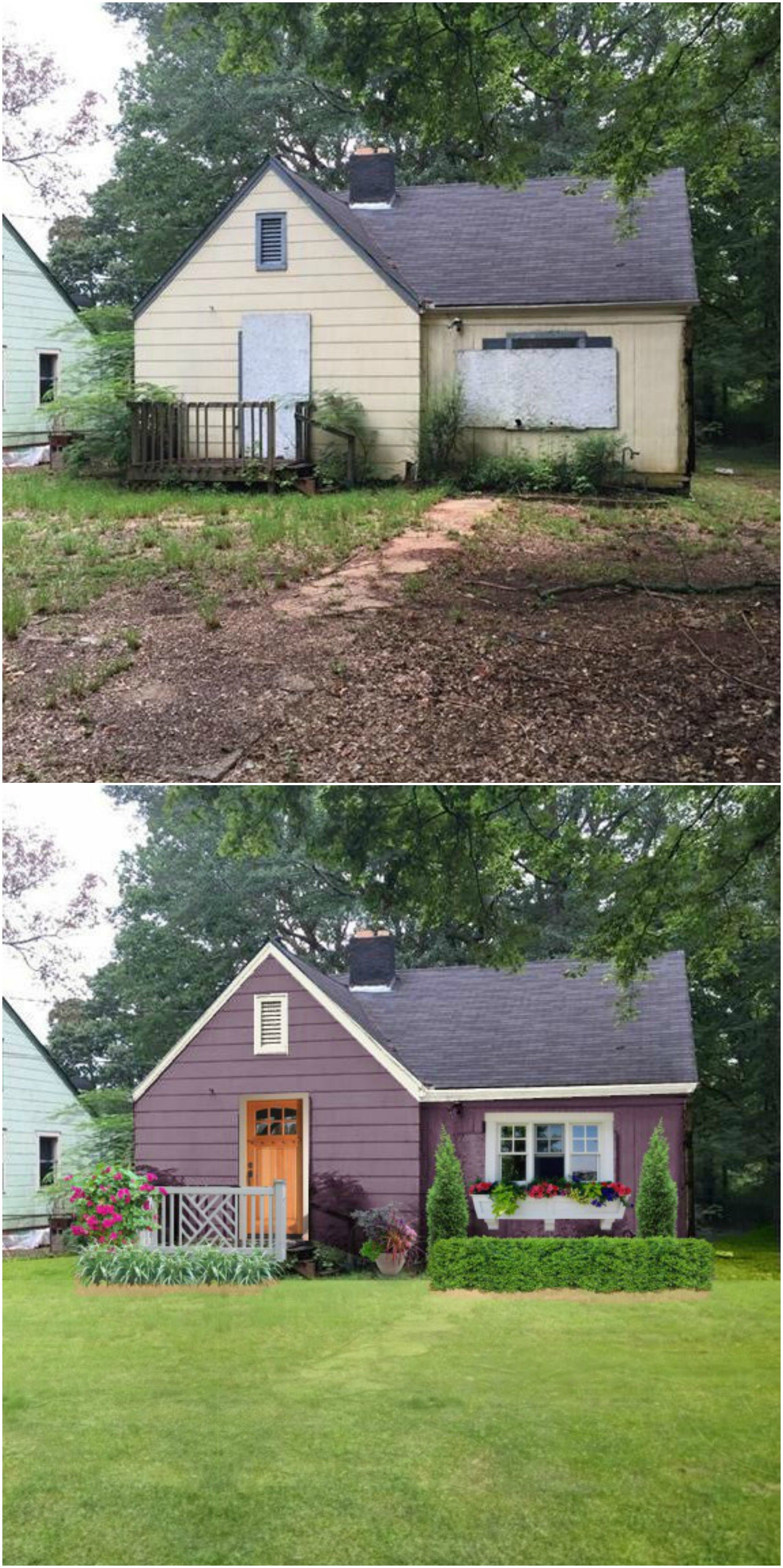 Before After 1940 Atlanta Home Home Exterior Makeover House Makeovers Apartments Exterior