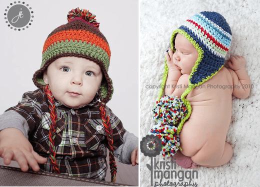 Gorros con orejeras para niños y bebés: patrones | Tejido ...