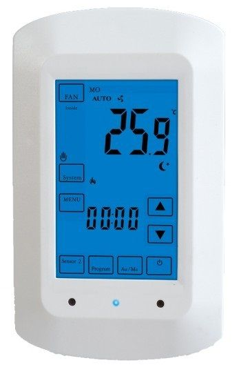 Fully programmable touch screen thermostat for radiant for Electric radiant heat thermostat