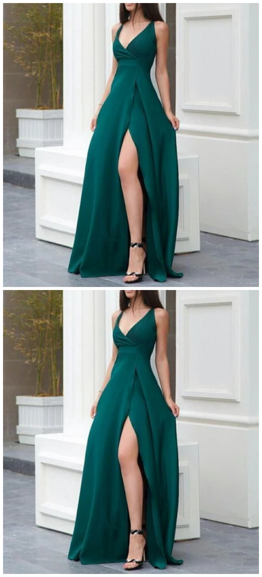 A Line Green Prom Dress With Side Slit - Green prom dress, Long green dress, Classy gowns, Classy prom dresses, Work party dress, Red dresses classy - A line green prom dress with side slitA beautiful dress that brings plenty of shine, turn the wow factor all the way up in this custom made sparkly beaded sweetheart neckline chiffon homecoming dress  This gorgeous dress with a sweetheart neckline accentuates your bust line and the bodice is adorned with dazzling beading that shines from every angle  To soften the look, the chiffon skirt lends a f