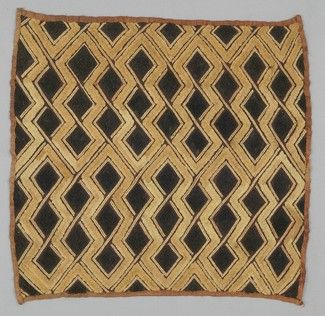 affia Pile Cloth PLACE MADE:Africa: Central Africa, Democratic Republic of the Congo PEOPLE:Shoowa PERIOD:Late 20th century DATE:c 1975 DIMENSIONS:L 49 cm x W 49 cm MATERIALS:Raffia TECHNIQUES:Plain woven; embroidered; cut pile stitch