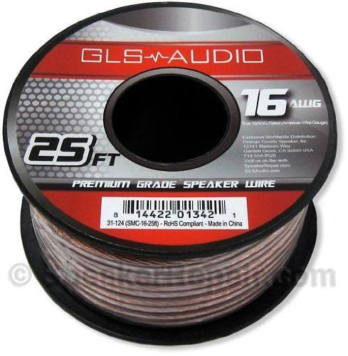 """GLS Audio Premium 16 Gauge 25 Feet Speaker Wire - True 16AWG Speaker Cable 25ft Clear Jacket - High Quality 25' Spool Roll 16G 12/2 Bulk by GLS Audio. $8.99. GLS Audio speaker wire is manufactured with the highest grade materials in the industry. The copper wire is rated in AWG spec which stands for """"American Wire Gauge"""". The AWG rating was developed by the USA as a result of some wire manufacturers stating their wire was a certain spec when it really wasn't. You'll notice m..."""