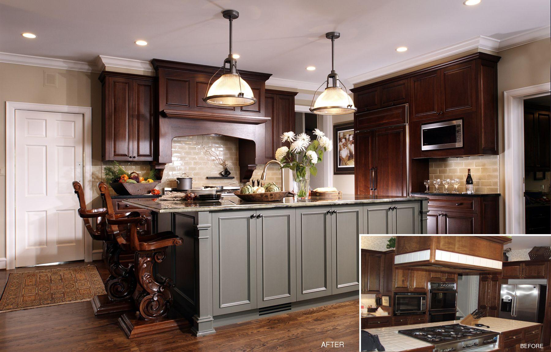 two tone cabinetry winnetka www benvenutiandstein com dark wood kitchen cabinets kitchen on kitchen hutch id=34400