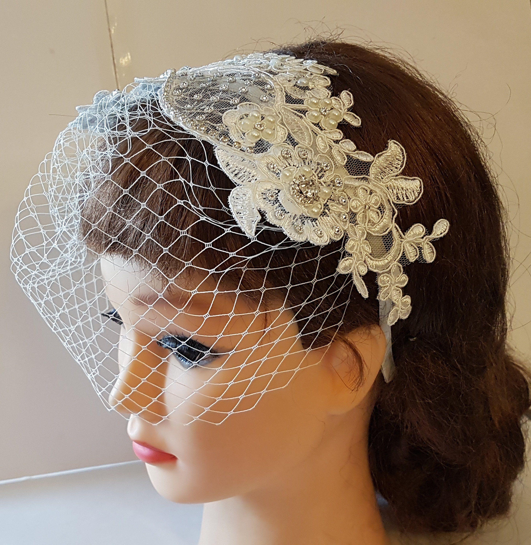 Bridal birdcage veil blusher veilwhitevorybirdcage veil