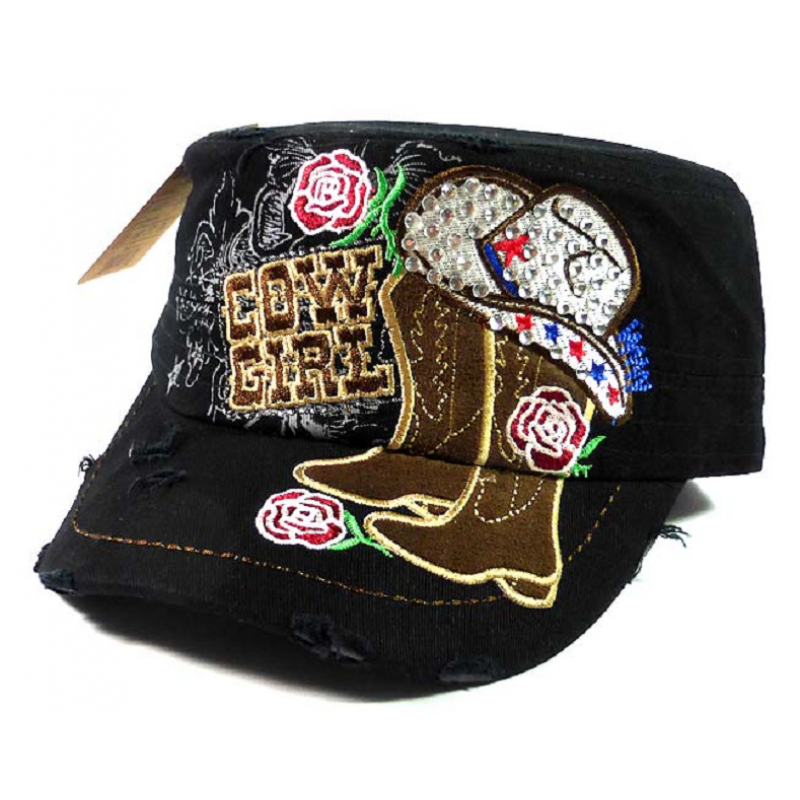Black Cowgirl Bling Roses, and Boots, Distressed Cap Hat