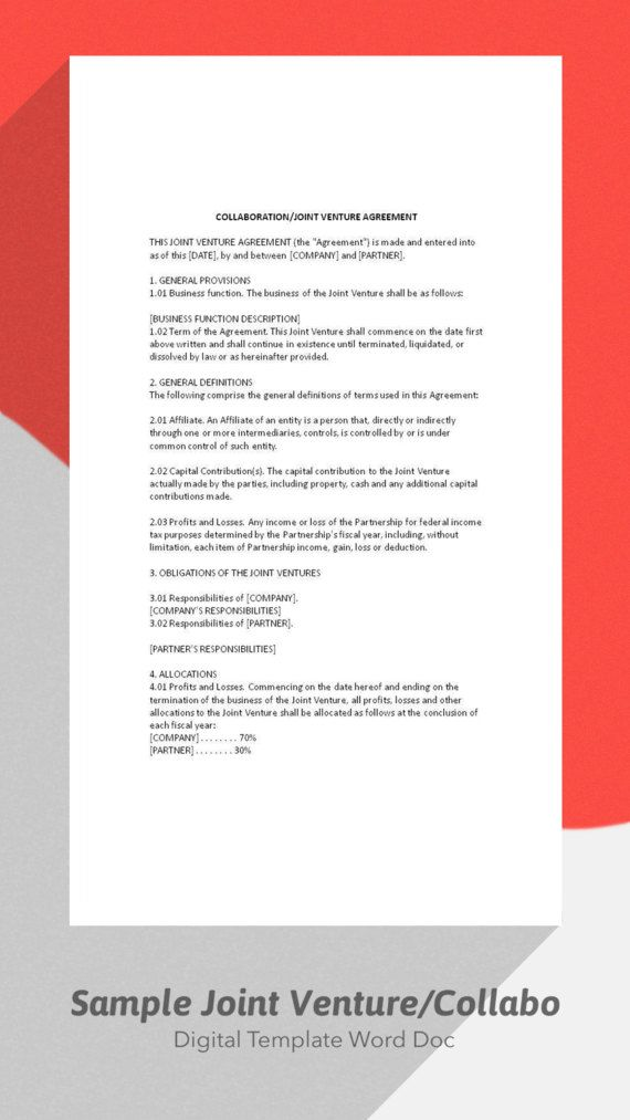 Sample Joint Venture Agreement Collaboration by DigitalPublishing - business agreement sample