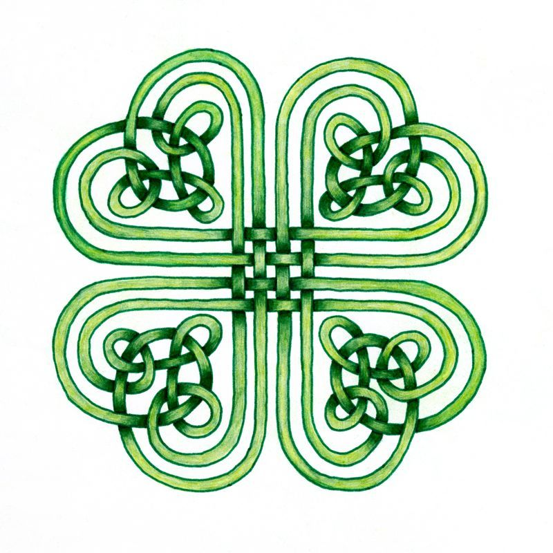 Luck of the Irish Ink and Watercolor Celtic Zentangle