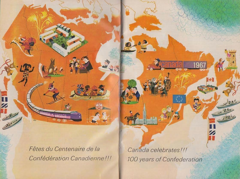Vintage Cartoon Map of Canada celebrating 100