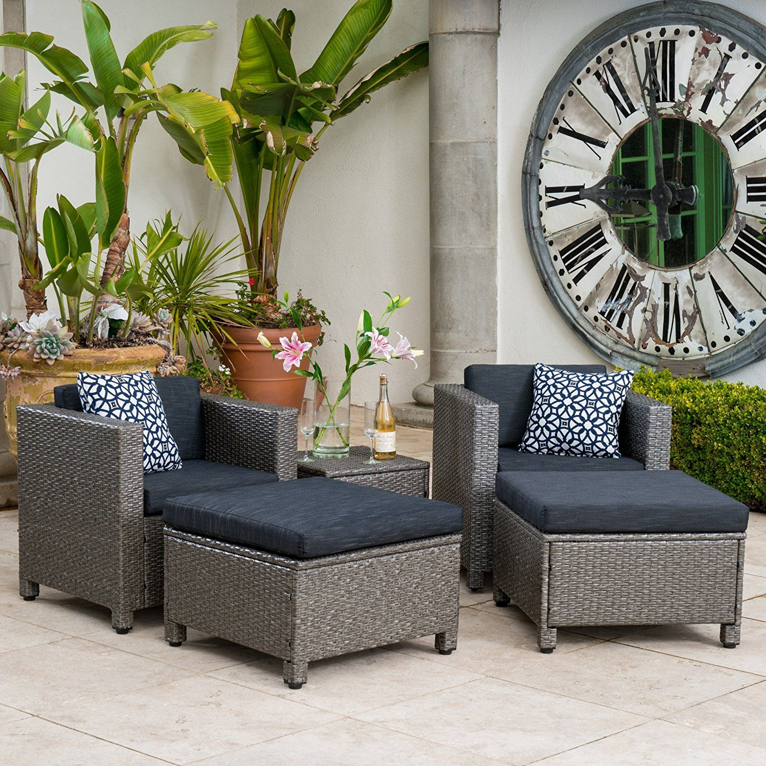 Amazon com venice outdoor wicker patio furniture grey black sofa seating set w cushions 5 piece set grey and black chat set patio lawn garden