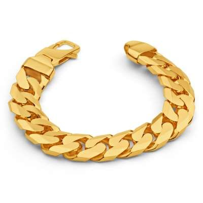 9ct Gold Men S 8 1 2 Inch Chunky Heavy Curb Bracelet