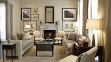 A living room by Philip Mitchell looks fresh today, thanks to a mix of traditional and contemporary furniture, muted prints and eclectic artwork. (Tim McGhie)