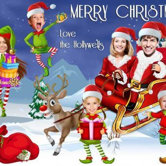Santa S Sleigh Christmas Card Funny Family Christmas Cards Family Christmas Cards Elf Christmas Card