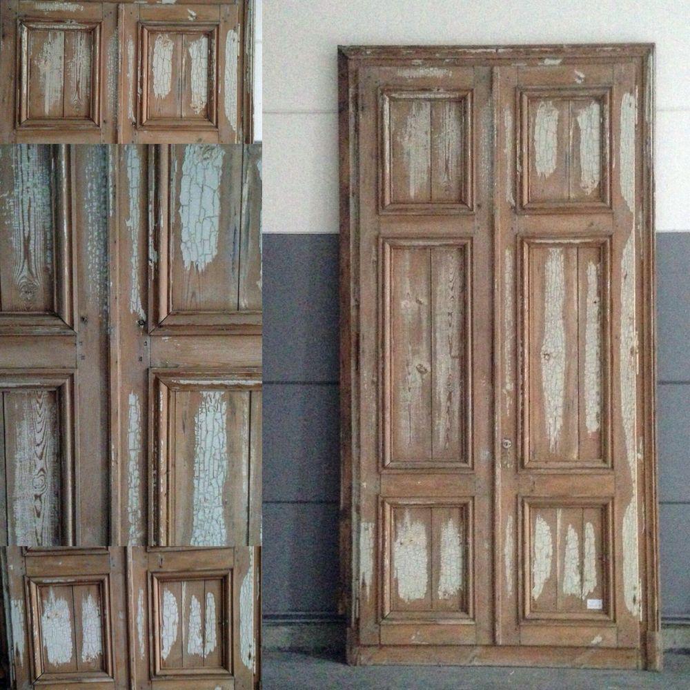 Placard double portes encadrement moulur es en sapin massif xix si cle decoration - Decoration encadrement porte interieur ...