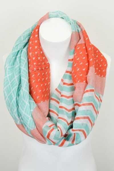 378f34891d232 Aqua And Orange Infinity Color Block Scarf, Light Weight Scarves, Spring  Scarves, Women's Accessories, Infinity Scarves