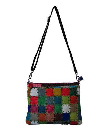 Look at this #zulilyfind! Red Rainbow Zigzag Leather Crossbody Bag #zulilyfinds