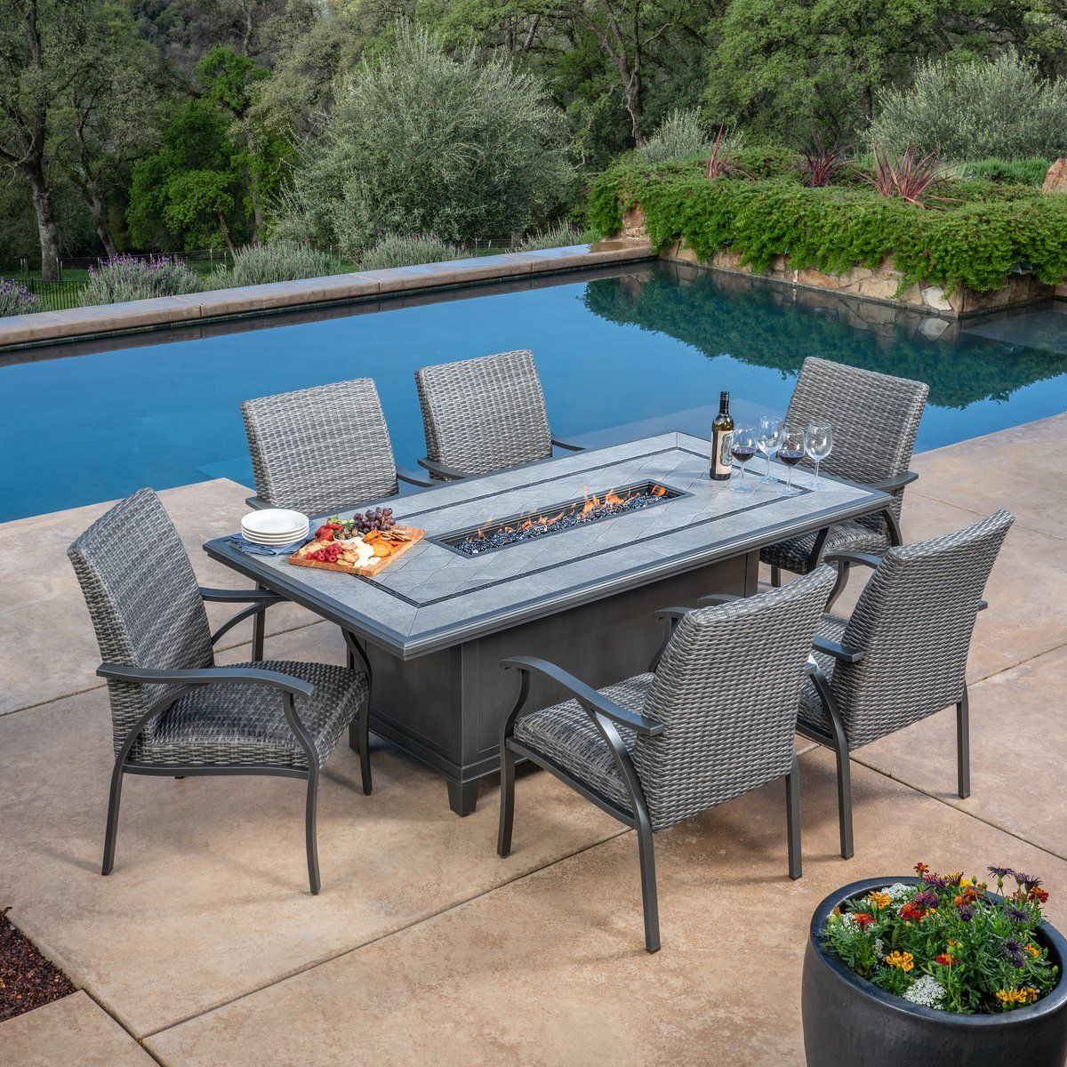 Indigo 7 Piece Woven Fire Dining Set Costco Patio Furniture Patio Conversation Set Patio