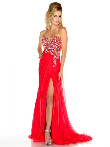 MacDuggal Flash Embellished Bodice Prom Dress with High Slit 48002L