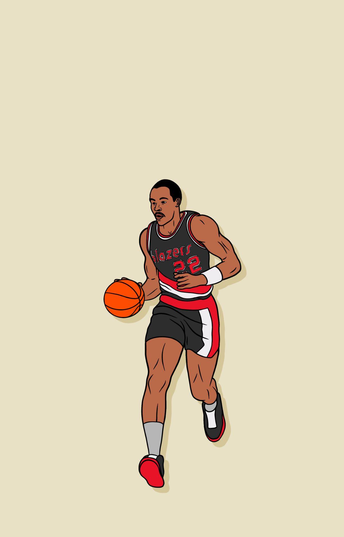 Clyde Drexler Portland Trailblazers Phone Background In 2021 Portland Trailblazers Portland Basketball Clyde Drexler