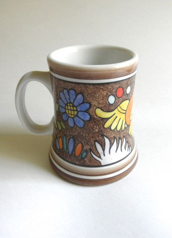 Colorful Mexican Mug 70s Hand Painted Signed Ceramic by JackpotJen