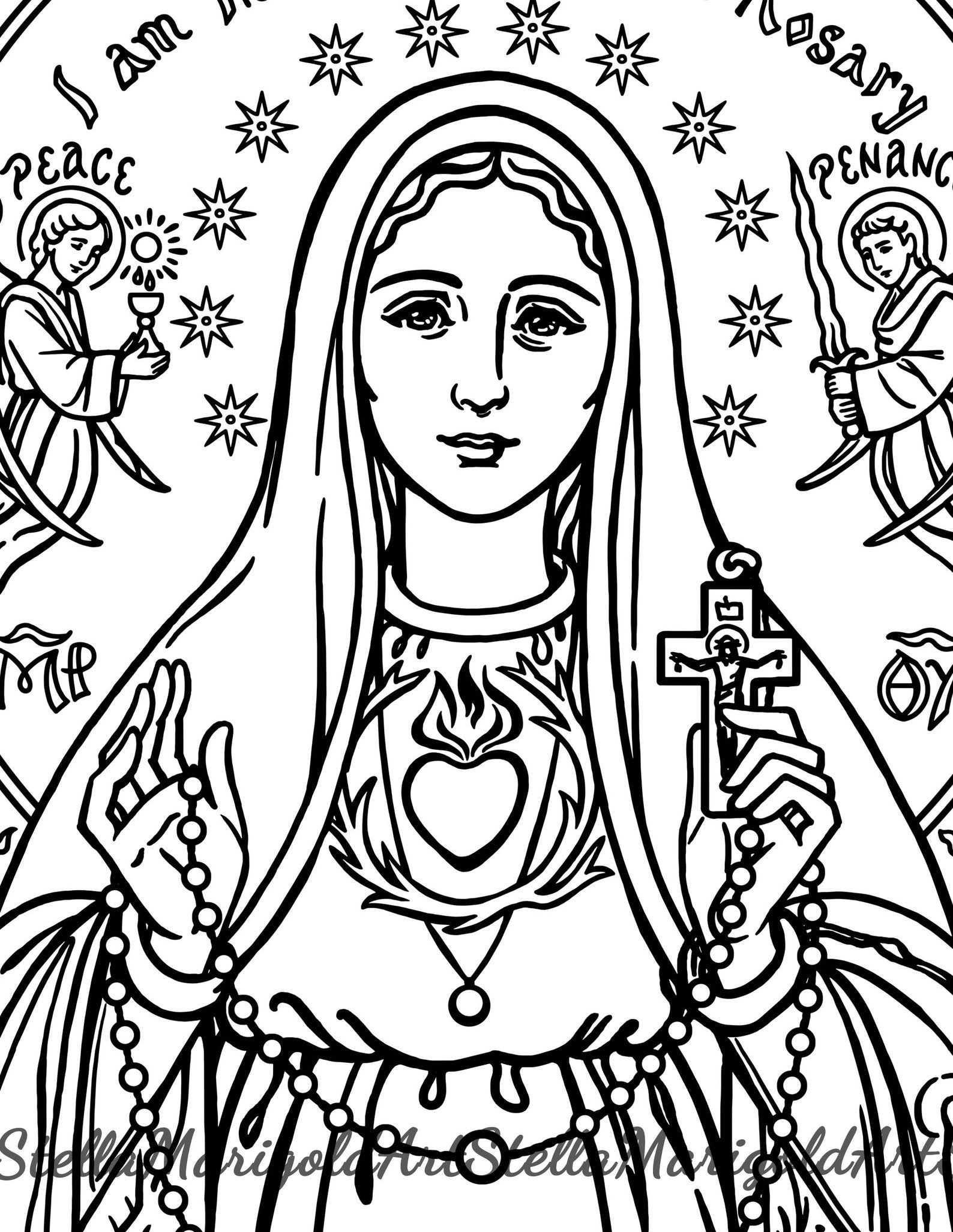 Our Lady Of Fatima Coloring Page Etsy Coloring Pages Catholic Coloring Lady Of Fatima