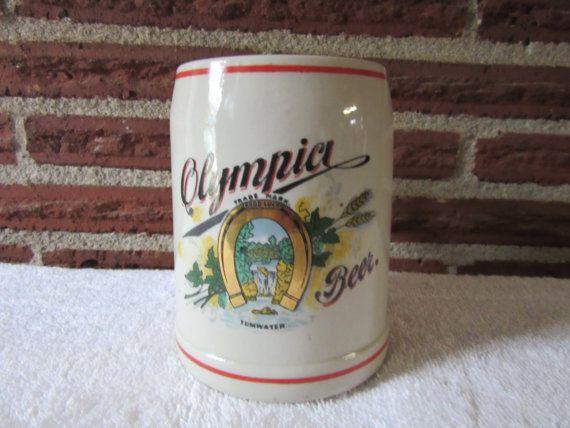 Vintage Olympia Ceramic Beer Stein Olympia Beer by UNBROKENPAST