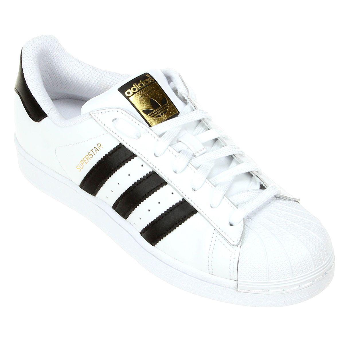 Tênis Couro Adidas Superstar Foundation Masculino Branco e