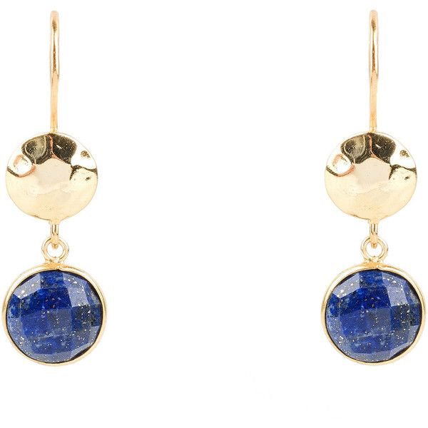 Circle & Hammer Earring Gold Lapis Lazuli (630 SEK) ❤ liked on Polyvore featuring jewelry, earrings, gold disc earrings, gold jewellery, hammered disc earrings, hook earrings and yellow gold earrings