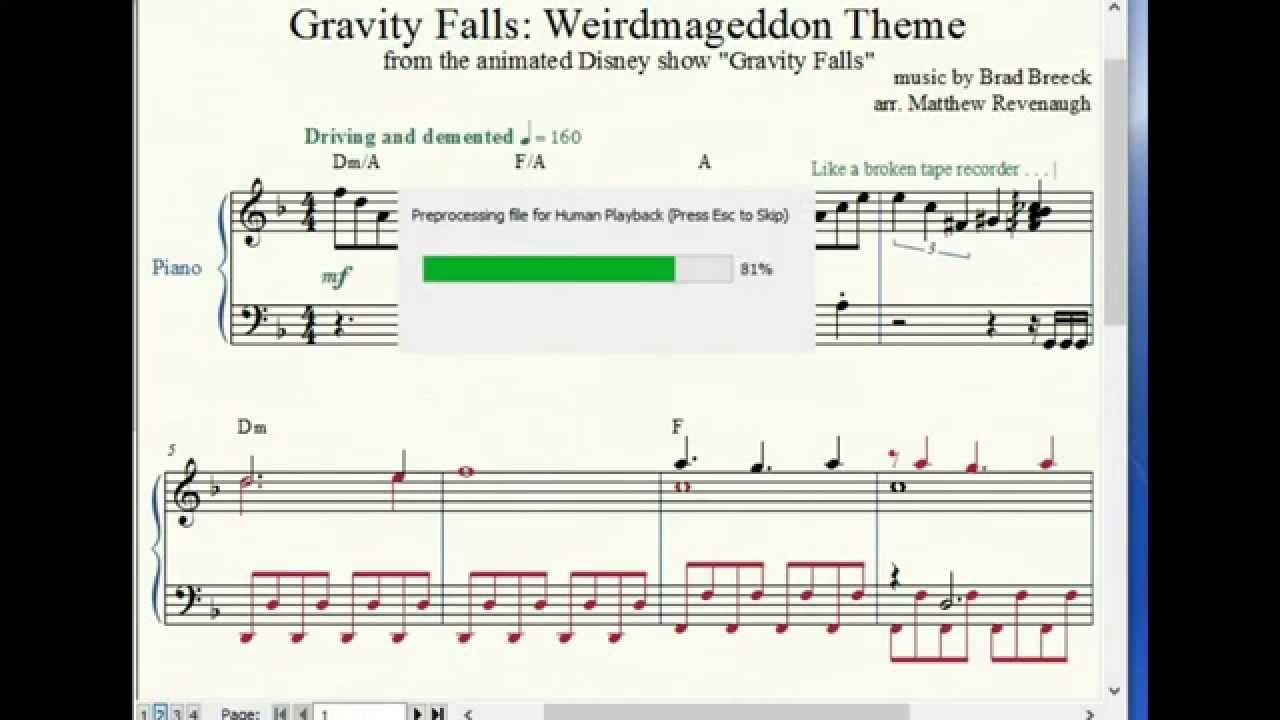 Gravity Falls Weirdmageddon Theme Piano Sheet Music With