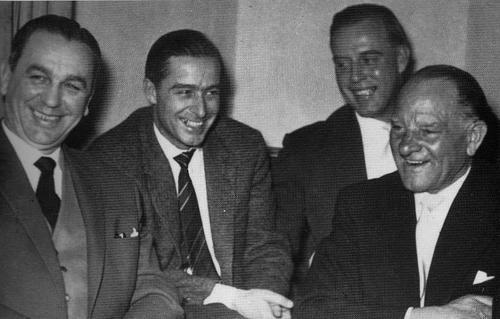 """A first meeting after the war: Kurt """"Panzermeyer"""" Meyer, Jochen Peiper, Otto Günsche, Josef """"Sepp"""" Dietrich"""