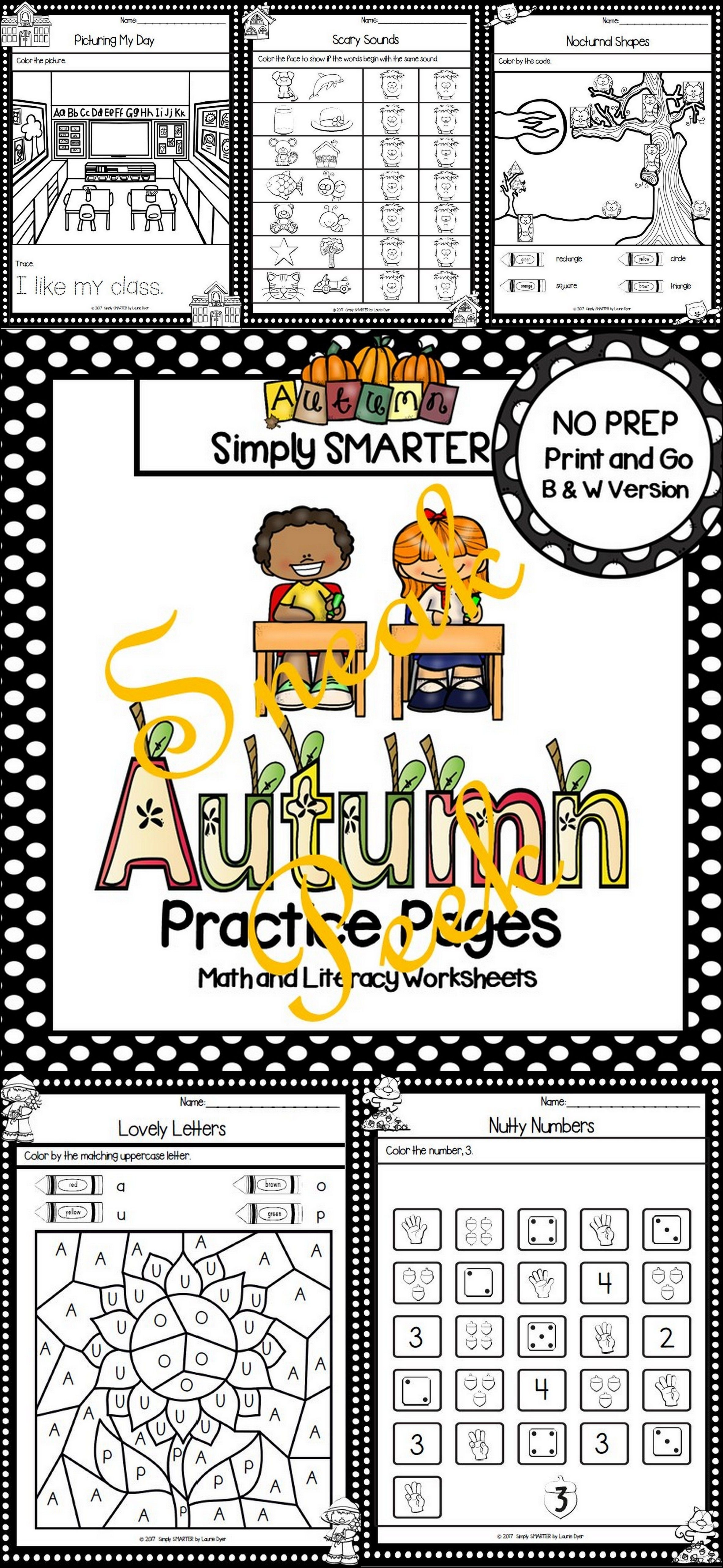Autumn Practice Pages Sneak Peek No Prep Math And